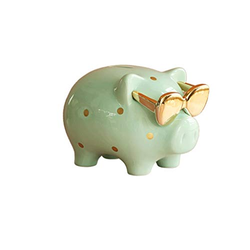 Caja de Dinero para Monedas Billetes Hucha De Cerámica, Piggy Mundial Boy and Girl Alcancía, Kinder Decoración, Recuerdo O Niños Hucha (Cian) (tamaño : Small)