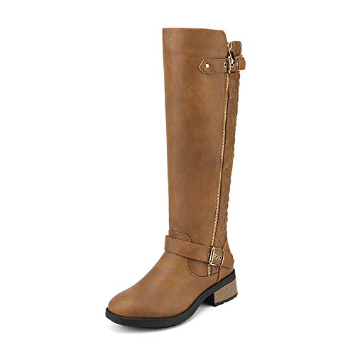 DREAM PAIRS Women's Utah Camel Low Stacked Heel Knee High Riding Boots Wide Calf Size 8.5 M US
