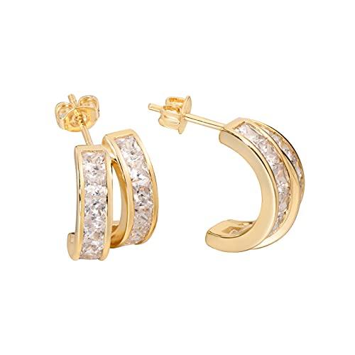 Pendientes de aro de oro con diseño de aro abierto de 2 capas, con circonita cúbica de corte princesa, tamaño pequeño, de plata de ley, para mujer
