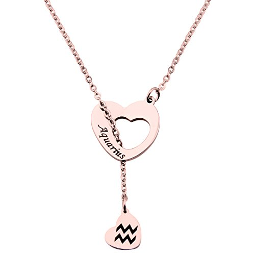 Ensianth Rose Gold Zodiac Signs Heart Necklace Stainless Steel Lariat Y Necklace Best Birthday Gift (Aquarius)