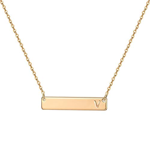 M MOOHAM Gold Bar Necklace for Teen Girls, Yellow Gold Engraved Letter V Initial Bar Necklace Dainty Horizontal Bar Chain Personalized Name Necklace