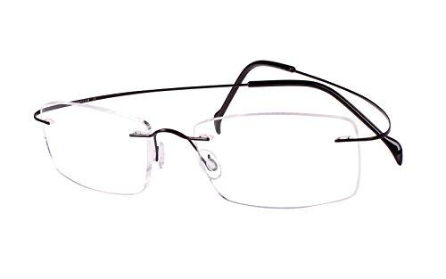 Agstum Pure Titanium Rimless Frame Prescription Hingeless Eyeglasses Rx (Black, Non-Prescription Clear Lens / 55)