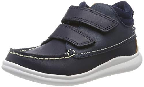 Clarks Jungen Cloud Tuktu K Hohe Sneaker High-Top, Blau (Navy Leather Navy Leather), 34 EU
