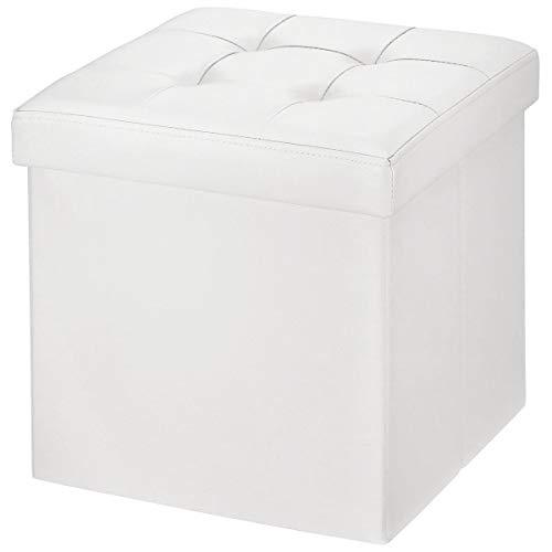 BRIAN & DANY Sitzhocker faltbar Sitzbank Kunstleder Aufbewahrungsbox mit Stauraum, Weiß, 38 x 38 x 38cm