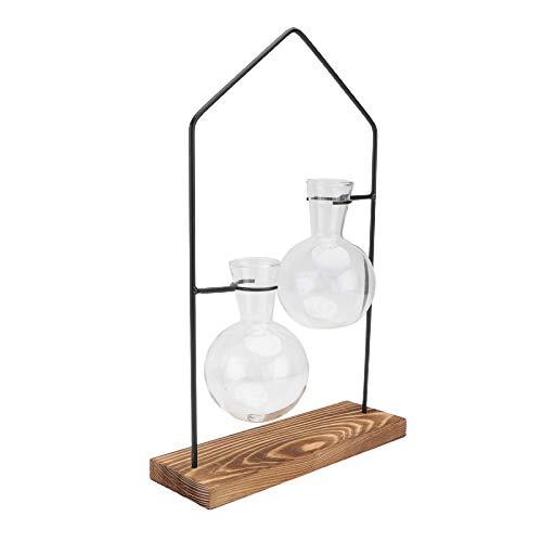 YARNOW Desktop-Pflanze Terrarium Glas Pflanzer Zwiebel Vasen mit Metallhalter für Hydrokultur Pflanzen Hausgarten Hochzeit Tischdekoration
