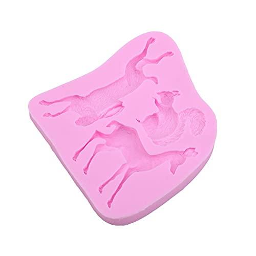 Yyqx Kuchenform kuchenformen 3D Kaninchen Eichhörnchen Fawn Bunny Silikonform Fondant Kuchen Formen Cupcake Werkzeuge Küchenzubehör (Color : Pink)