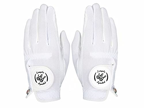 Simple Symbol Men's RainGrip Golf Glove Two Pack,Hot Wet Weather Comfort,(Two Left Hands Or Two Right Hands Or One Pair) Four Colors to Choose from White/Green/Navy Blue/Grey(White,XL,Pair)