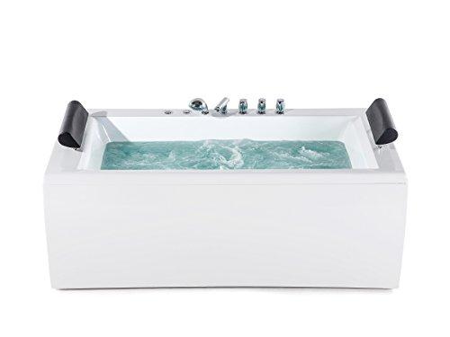Supply24 since 2004 Whirlpool Badewanne Manhattan mit 14 Massage Düsen + LED Beleuchtung Licht + Wasserfall freistehend an nur Einer Wand; Wanne Hot Tub Spa für Bad/Badezimmer Innen