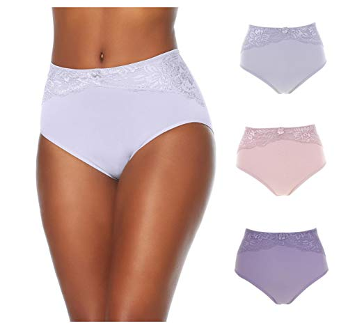 Rhonda Shear Ahh by Seamless Brief 3-Pack with Lace Overlay Panty (Light Tones, 1X)