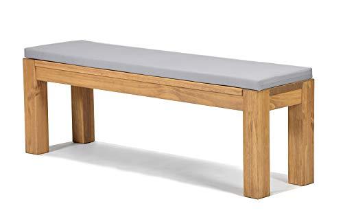 Sitzbank Rio Bonito 140x38cm + Bankauflage hellgrau, Holzbank Massivholz Pinie, geölt und gewachst, Farbton Honig hell, Optional: passende Tische
