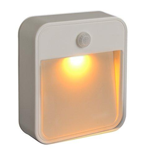 Mr. Beams MB720schlaffreundliche batteriebetriebene Bewegungserkennungs-LED; kleben Sie dieses Nachtlicht mit gelber Leuchte an eine beliebige Stelle, plastik, weiß, 1 Packung