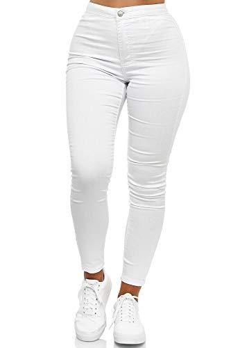 Elara Damen Jeans High Waist Slim Fit Chunkyrayan JS710-1 White 38 (M)