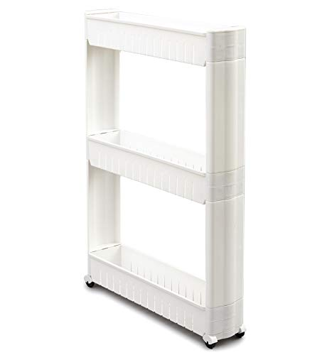 The Lakeside Collection 3-Tier Rolling Slim Cart for Tight Indoor Spaces - Compact Kitchen Storage
