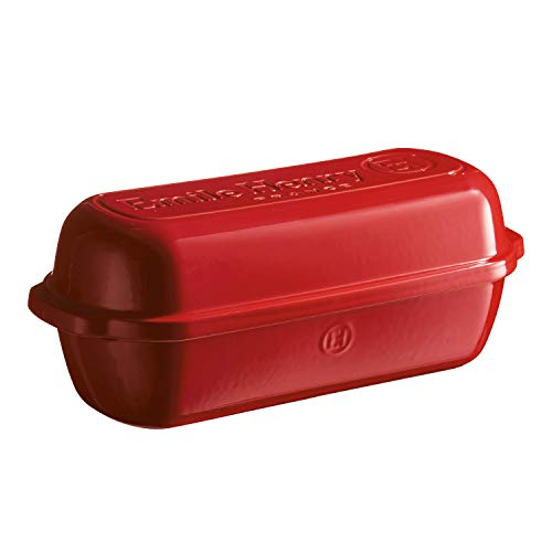 Emile Henry 349503 - Molde para pan rústico fabricado en cerámica, Rojo (Grand Cru), 39 x 16.5 x 15 cm