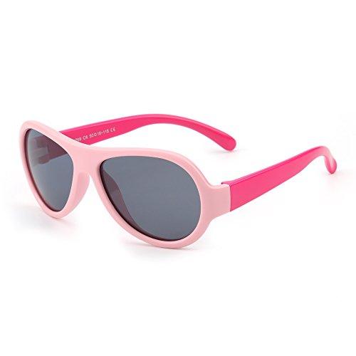 JM JM Kinder Gummi Polarisiert Sonnenbrille Unzerbrechlich Mädchen Jungen Alter 3-12(Pink&Rot/Grau)