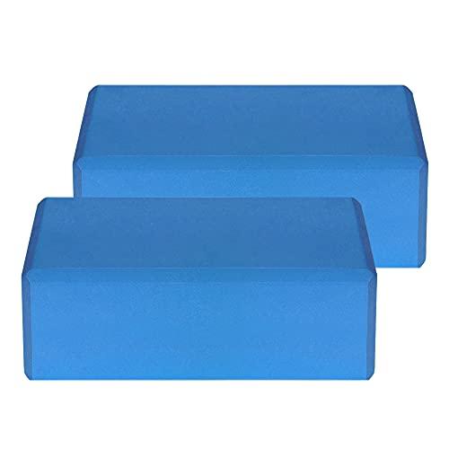 Lixada 1PCS / 2PCS EVA Yoga Blocks,Bloque de Espuma Correa Superficie Antideslizante sin Látex para la Meditación Yoga Pilates (Azul, 2Pcs)