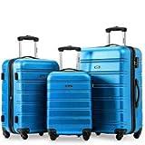 Famyfamy Viaje Casa Conjunto De 3 Equipaje Extensible Ligero 4 Ruedas Giratorio Viaje Maleta con Ruedas Cerradura Set Equipaje Maleta Cerradura Equipaje ABS Cubierta Rígida (Azul Profundo)