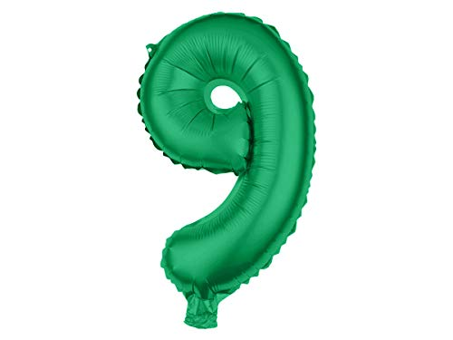 Alsino, XXL folieballon, ballon, heliumballon, cijferballon, getallen 0-9, groen, 80 cm, party, verjaardag, bruiloft Eén maat Ballon-129, cijfer 9