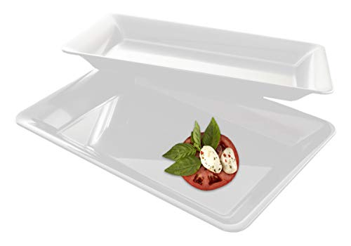 5 Rectangle White Plastic Trays Heavy Duty Plastic Serving Tray 10 x 14 Serving Platters Food Tray Decorative Serving Trays Wedding Platter Party Trays Great Disposable Serving Party Platters White
