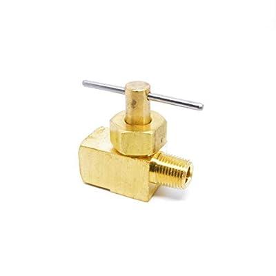 Precision Brass Liquid Gas Needle Valve 1/8 Male NPT x 1/8 Female NPT FIP FPT NPT by FASPARTS