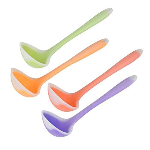 BESTONZON 4pcs mestoli di utensili da cucina colorati morbidi cucchiai di zuppa di silicone traslucido creativi secchi di antiaderente resistenti al calore flessibili (colore casuale)