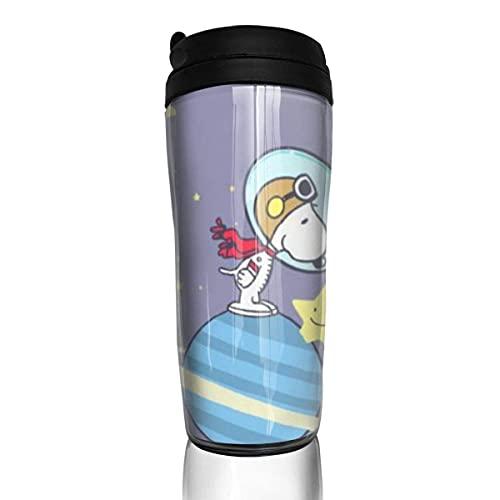 Snoopy - Taza de café reutilizable a prueba de fugas con tapa para 350 ml (parte inferior de la taza gruesa antideslizante)