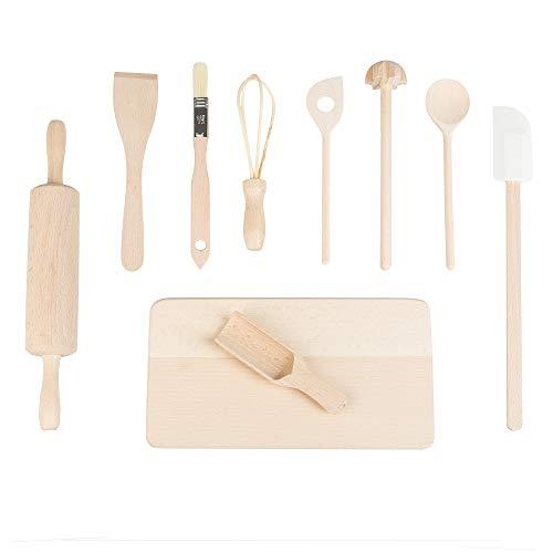 Smart Planet® Koch- und Backset für Kinder - 10-teilig - Kochen und backen mit Kindern - Holzset - Küchenhelfer - Kinderküche - lebensmittelecht
