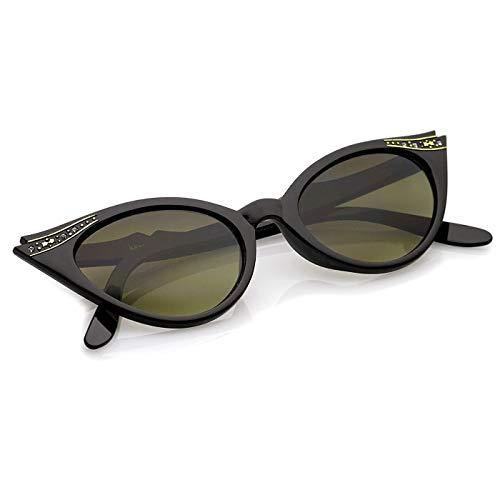 KISS Gafas de sol CAT EYE mod. CRYSTALS PIN-UP - MUJER de moda extravagante elegante vintage - NEGRO