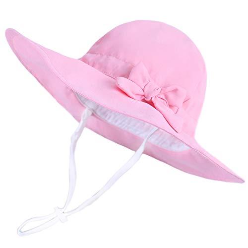 Happy Cherry Baby Mütze Mädchen Sommer UV Schutz Sonnenhut Bowknot Fischerhut mit Kinnriemen