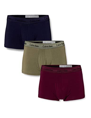 Calvin Klein Herren Low Rise Trunk 3pk Boxershorts, Mehrfarbig (Lost Blue/WILD FERN/Raisin Torte WFL), XS