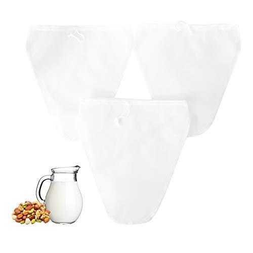 Daymi Neue Form 3 Stück Nussmilchbeutel für vegane Nussmilch Mandelmilch Haselnussmilch Feinmaschiges Passiertuch Filtertuch für Obstsaft & Kaffee 28 * 30CM