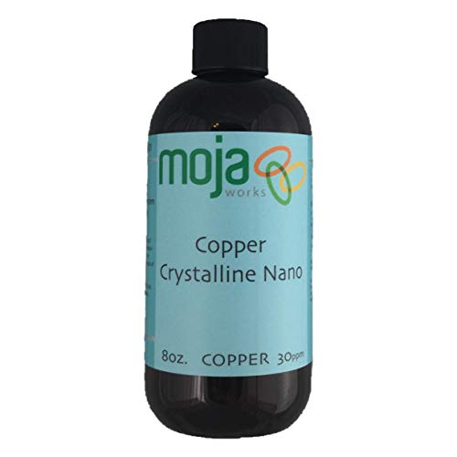 Mojaworks Pure Chrystalline Nano Copper - Colloidal Copper Liquid,100% Pure Natural Mineral Supplement, Supports Collagen and Elastin Production - Promotes Bone Density Decrease Swelling (8Oz 30 PPM)