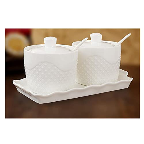 Set di vasetti per condimenti in Ceramica Bianco salvaspazio Multifunzione portaspezie con Vassoio con Coperchio a Cucchiaio Facile da Pulire e Resistente all'umidità (Set di Due Pezzi),A