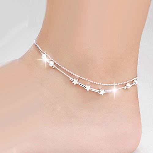 cavigliera donna doppia Simsly Beach - Cavigliera in argento a forma di stella