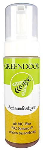 Greendoor Schaumfestiger 150ml, Volumen Kraft + natürliche Pflege, perfekt gestyltes natürliches Haar, mit BIO Bier + BIO Melisse + Bienenhonig, Haarpflege ohne Silikone, Naturkosmetik ohne Parabene