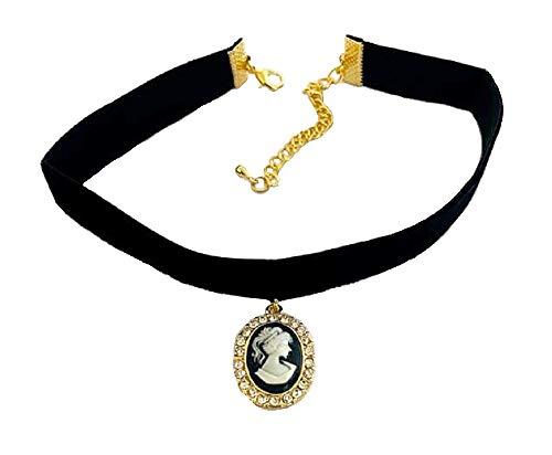 Gargantilla elástica con colgante de terciopelo negro dorado con aspecto de camafeo para mujeres y niñas