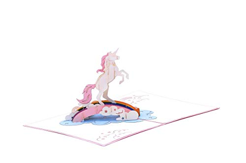 EnclosedWithLove Legendary Mythical Magical Unicorn Pink 3D Card, For Birthday, Thank You, Congratulations, Papercraft Unicorn, Unicorn, Pop Up Greeting Card, Pop Up Unicorn, Kids, Girls