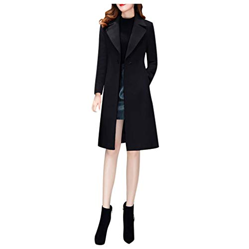 DOORIC Womens Double Breasted Pea Coat Slim Fit Notched Lapel Winter Long Wool Coats Trench Black