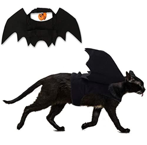 Animali Domestici Ali di Pipistrello,Animale Domestico Halloween Costume,Ali di Pipistrello per Gatto,Vestito Pipistrello Cane,Gatto Pipistrello con Zucca Bells per Piccoli Cani Gatti
