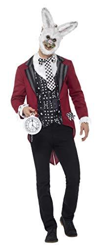 Smiffys Herren Deluxe Weißer Hase Kostüm, Jacke, Weste, Maske und Taschenuhr, Größe: XL, 46826