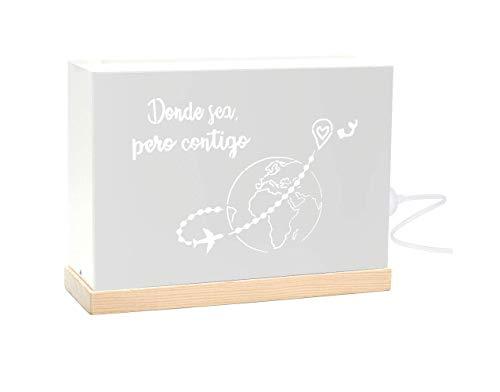 60watios.com | Lampara Decorativa de Metal y Madera Natural con Mensajes Personalizados | Caja con Letras Luminosas para Salón | Regalos Originales Dormitorio (Blanco - Donde sea Pero Contigo)