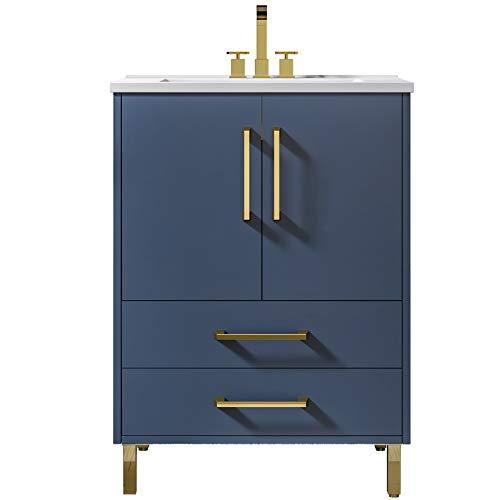 24 inch Single Blue Bathroom Vanity with Ceramic Sink Combo,2 Doors and 2 Draw Bathroom Storage Cabinet Set,BV02-BSBLUE-AL