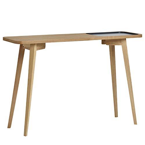 VS Venta-stock Mueble Consola Yoko 120x35 cm, Mueble de Entrada, Madera de Haya y Chapa de Roble, Color Gris Antracita, Estilo nórdico