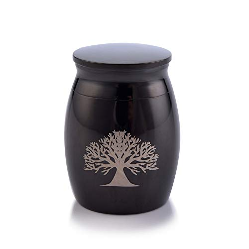 Sunling Tree of Life Engraved Small Stainless Steel Decorative Memorial Keepsake Cremation Urns Jar for Human Pet Ashes Funeral Bottle Holder for Grandma,Grandpa,Black,Waterproof
