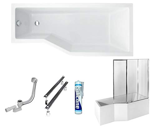ECOLAM Duschbadewanne Set Badewanne + Badewannenabtrennung Duschwand Eckbadewanne Integra Acryl weiß 150x75 cm RECHTS + Schürze Ablaufgarnitur Ab- und Überlauf Automatik Füße Silikon raumsparend