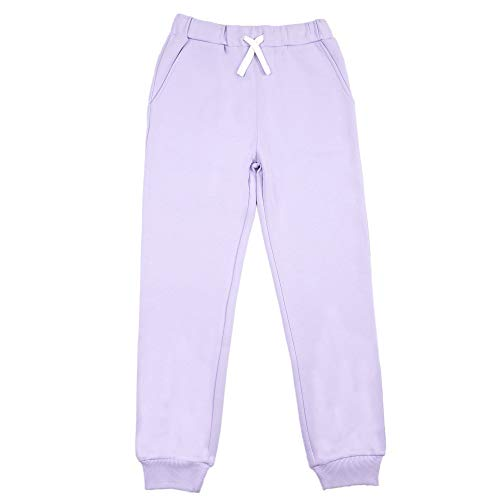 JIAHONG Kids Unisex Sport Jogger Active Sweatpants Casual Pants with Drawstring for Boys and Girls 3-12 Yearsv (Light Purple-m)