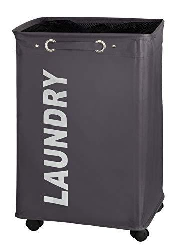 Wenko Cesta Quadro com rodas, separador, com tampa, armazenamento, cesto de lavanderia, fino, cinza, 40 x 60 x 33 cm