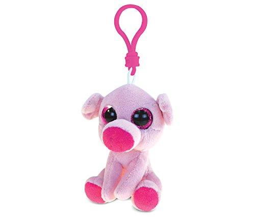 DolliBu Pig Plush Big Eyes Keychain Stuffed Animal - Soft Wild Farm Animal Charm with Sparkling Big Eyes, Decorative Barn Plush Toy Accessory & Fun Buddy Clip for Kids Keys, Purse, Backpack, Bags