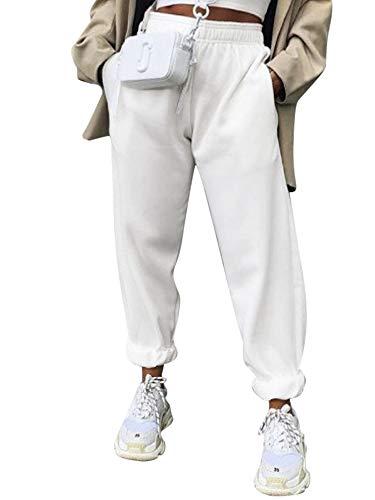 Pantalones de chándal para mujer, pantalones de chándal para mujer, cintura elástica, pantalones de chándal con bolsillos, color blanco, XXL