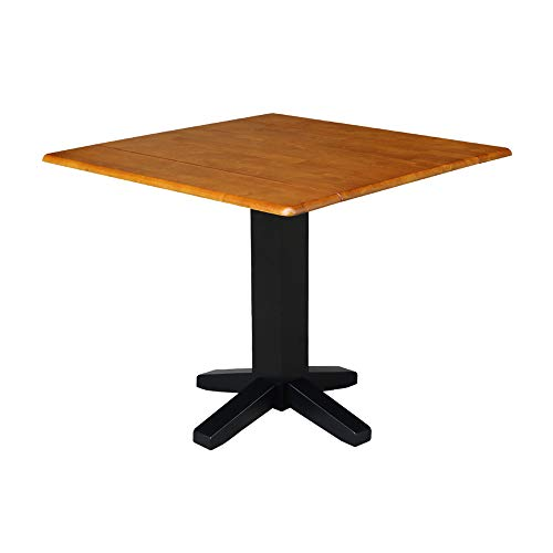 International Concepts Square Dual Drop Leaf Dining Table, 36-Inch, Black/Cherry